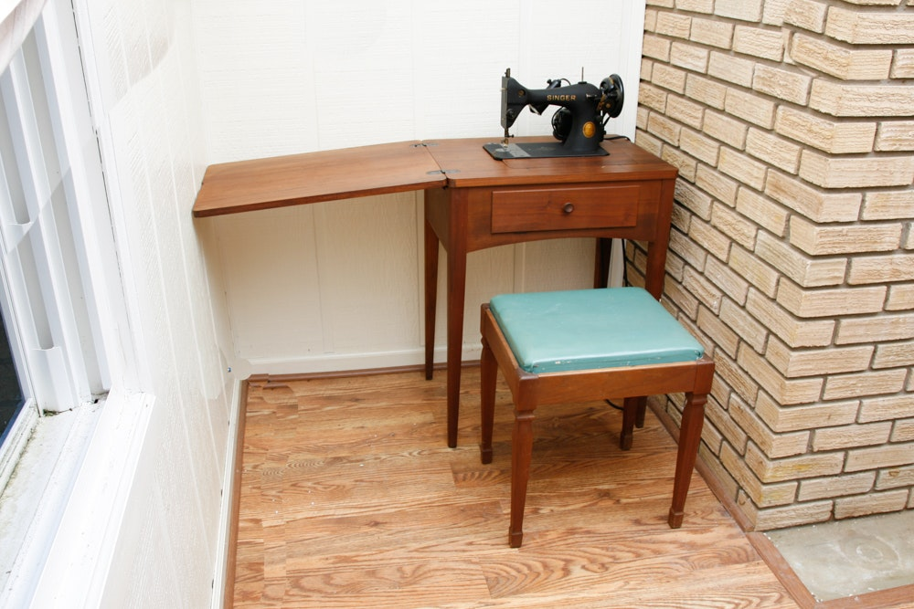 Sewing Machine Table with Stool and Singer Machine