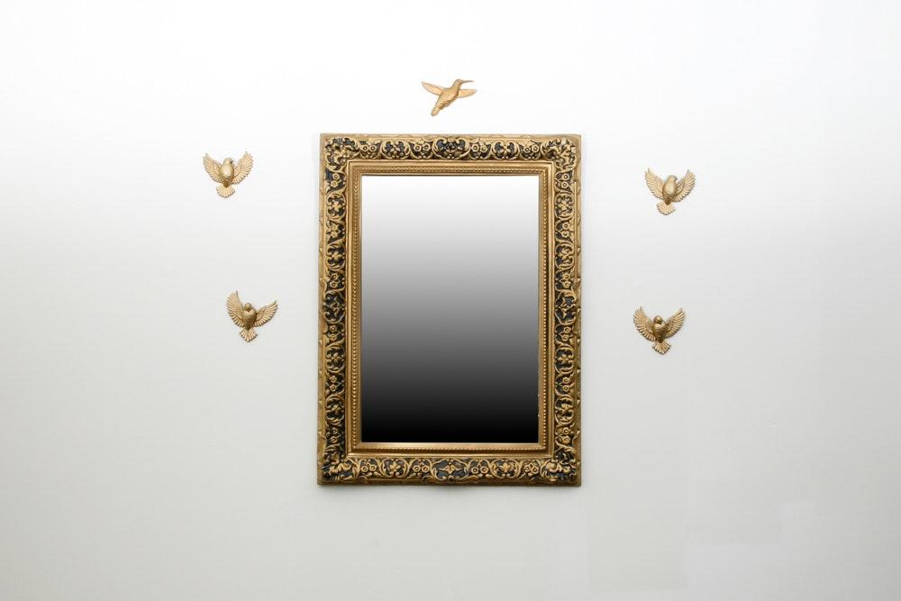 Vintage Wall Mirror with Bird Decor