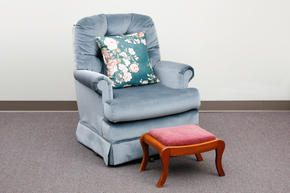Swivel and Rock Upholstered Chair and Footstool