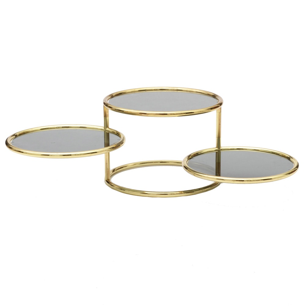 Mid Century Modern Brass Accent Table with Rotating Shelves