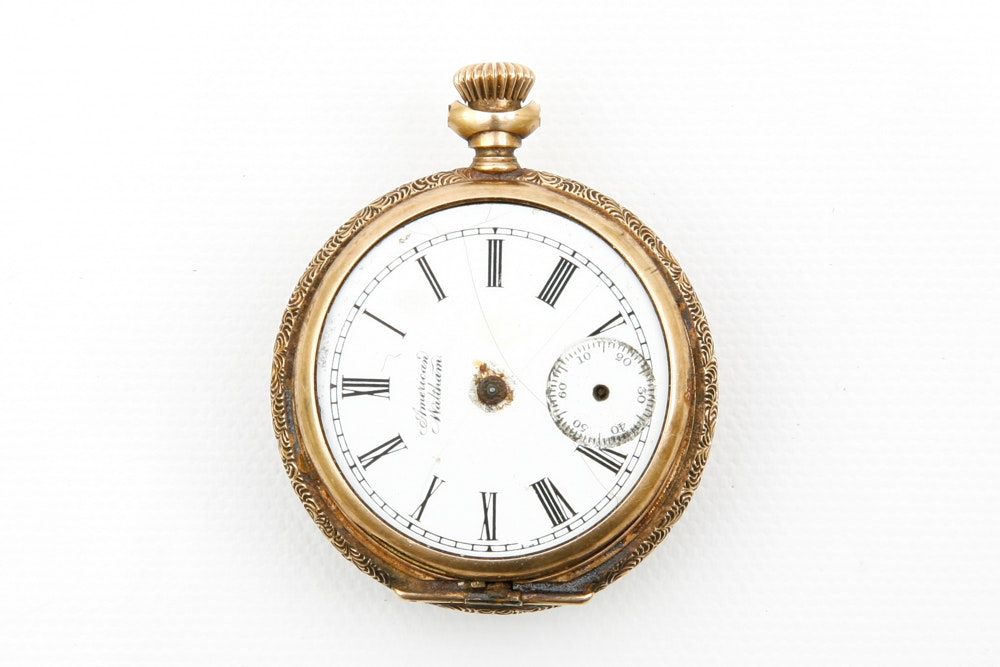 Antique American Waltham Pocket Watch with 14K Yellow Gold Case