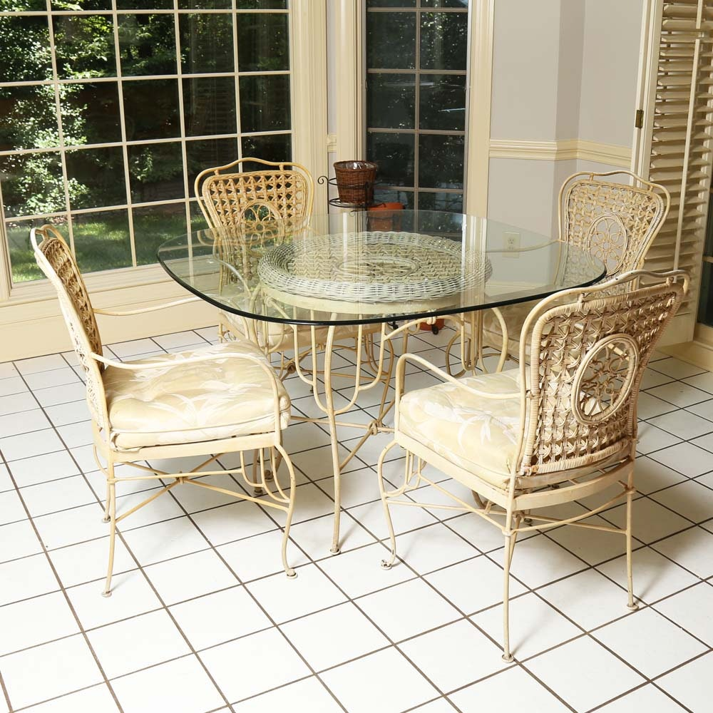 Glass Top Metal Dining Table and Chairs