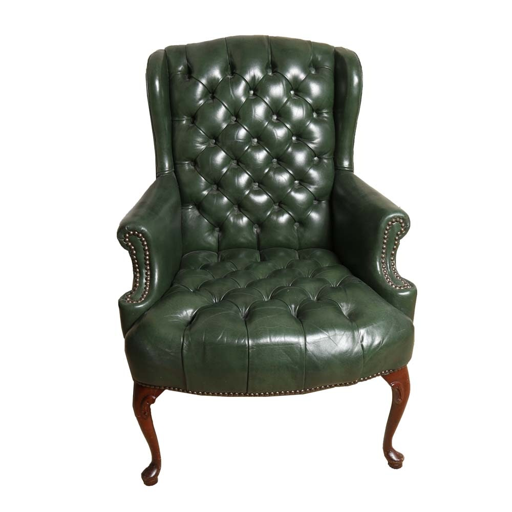 Tufted Green Leatherette Wingback Armchair