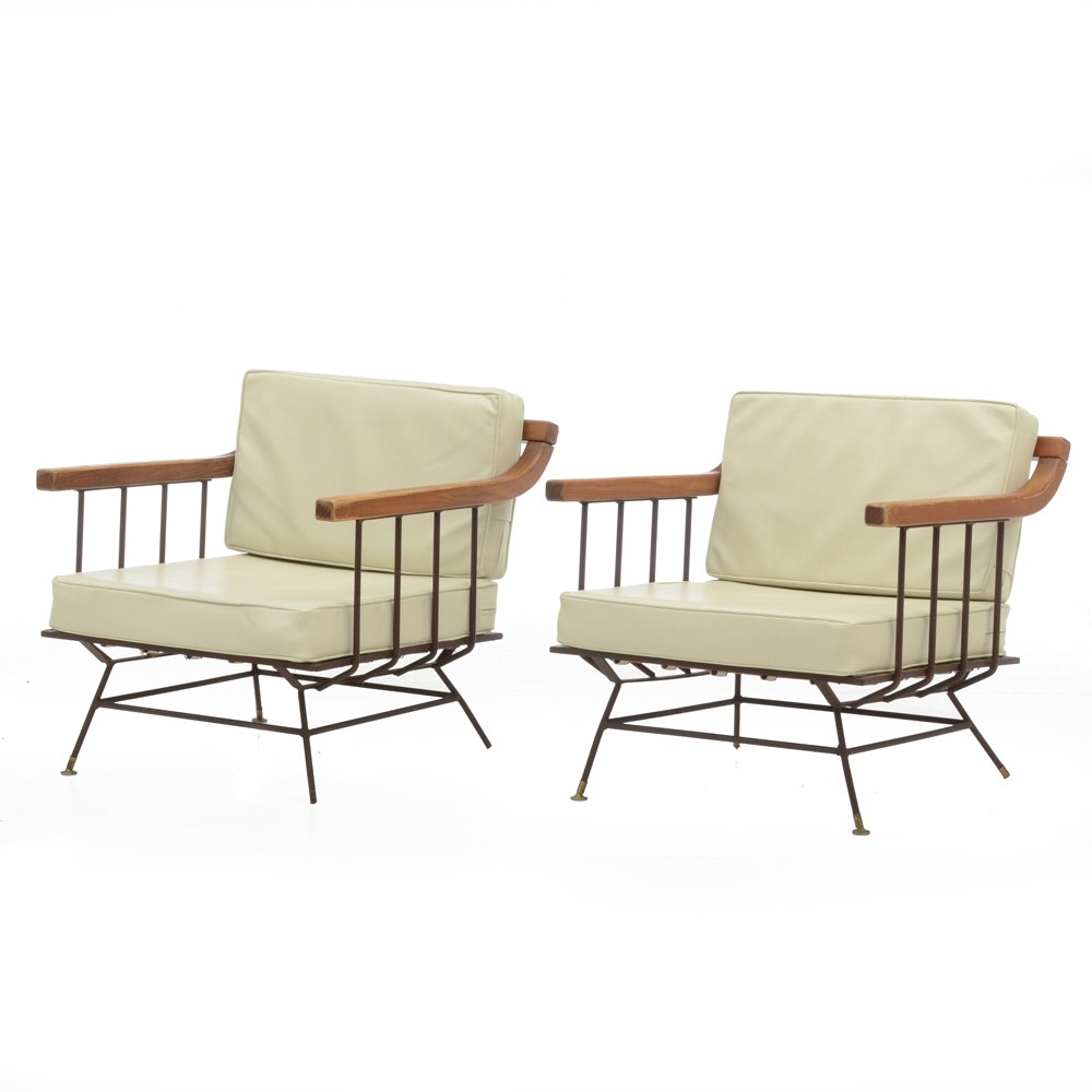 Richard McCarthy Style Iron and Elm Lounge Chairs