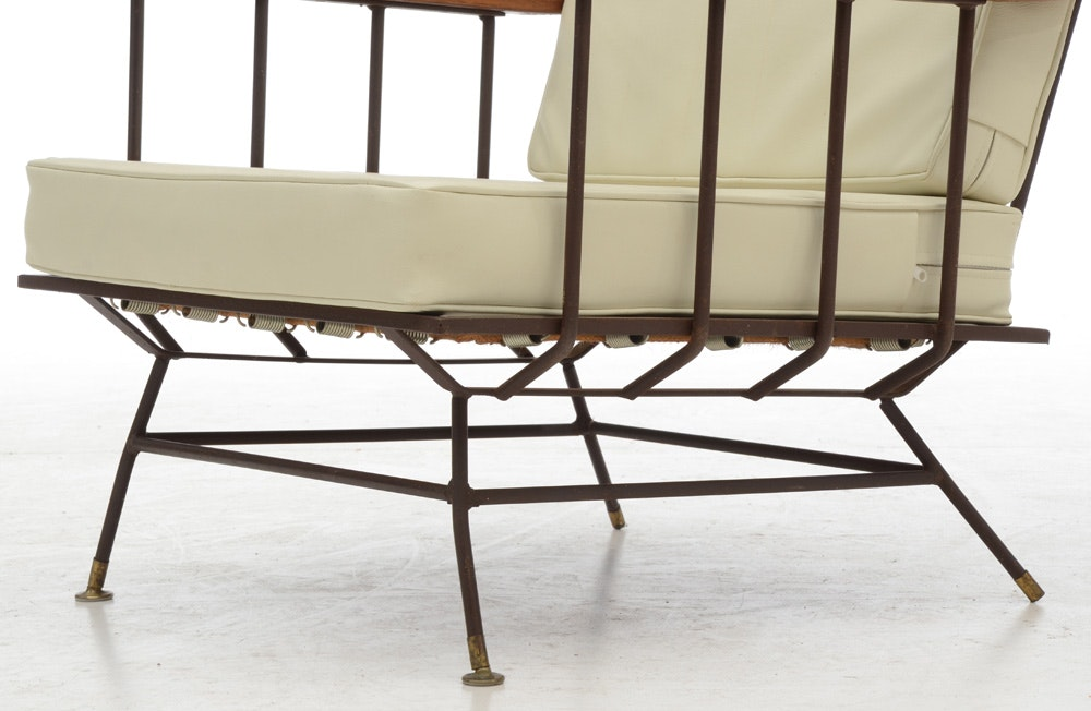 Richard Mccarthy Style Iron And Elm Lounge Chairs Ebth