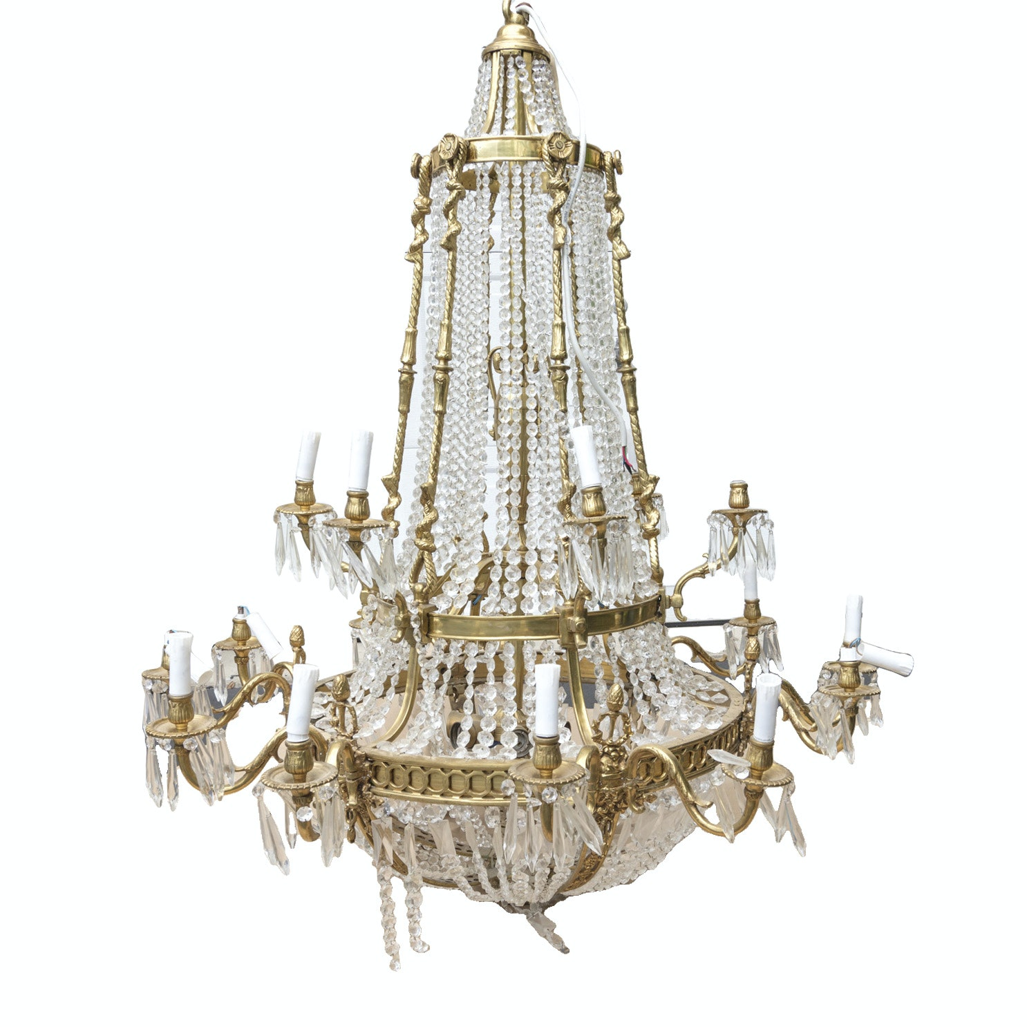 Vintage Ornate Brass and Crystal Chandelier