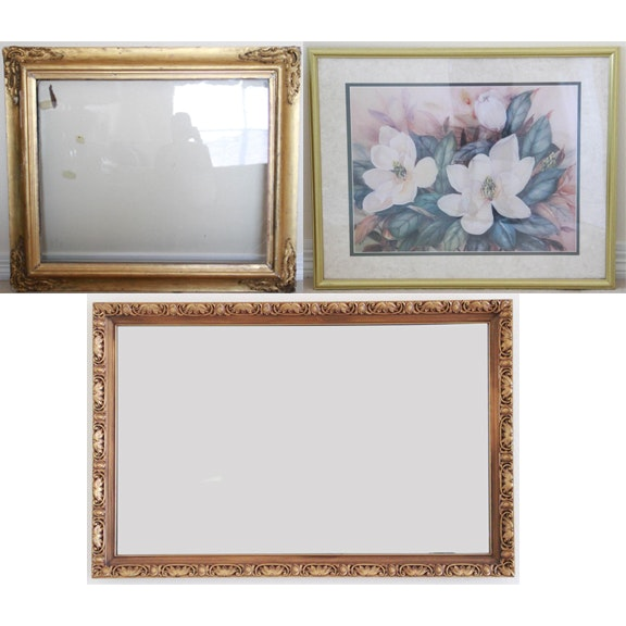 Floral Print on Paper, Vintage Frame with Glass, and Wall Mirror