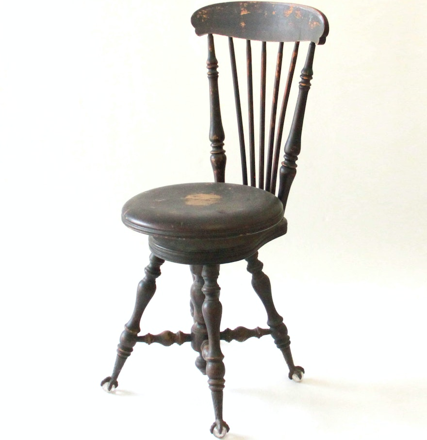 Antique Spindle Back Wooden Piano Stool Ebth