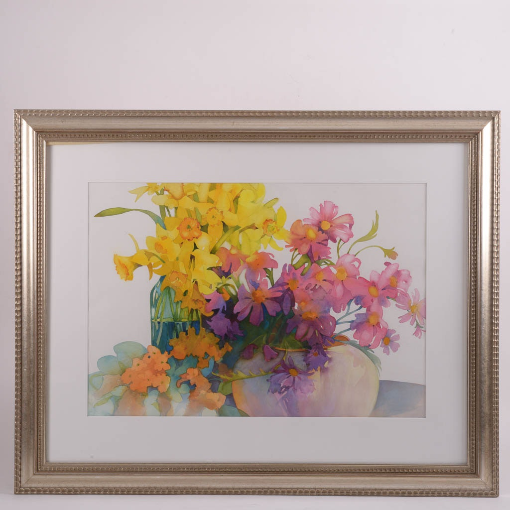 Jean Uhl Spicer Original Watercolor Painting of Flowers