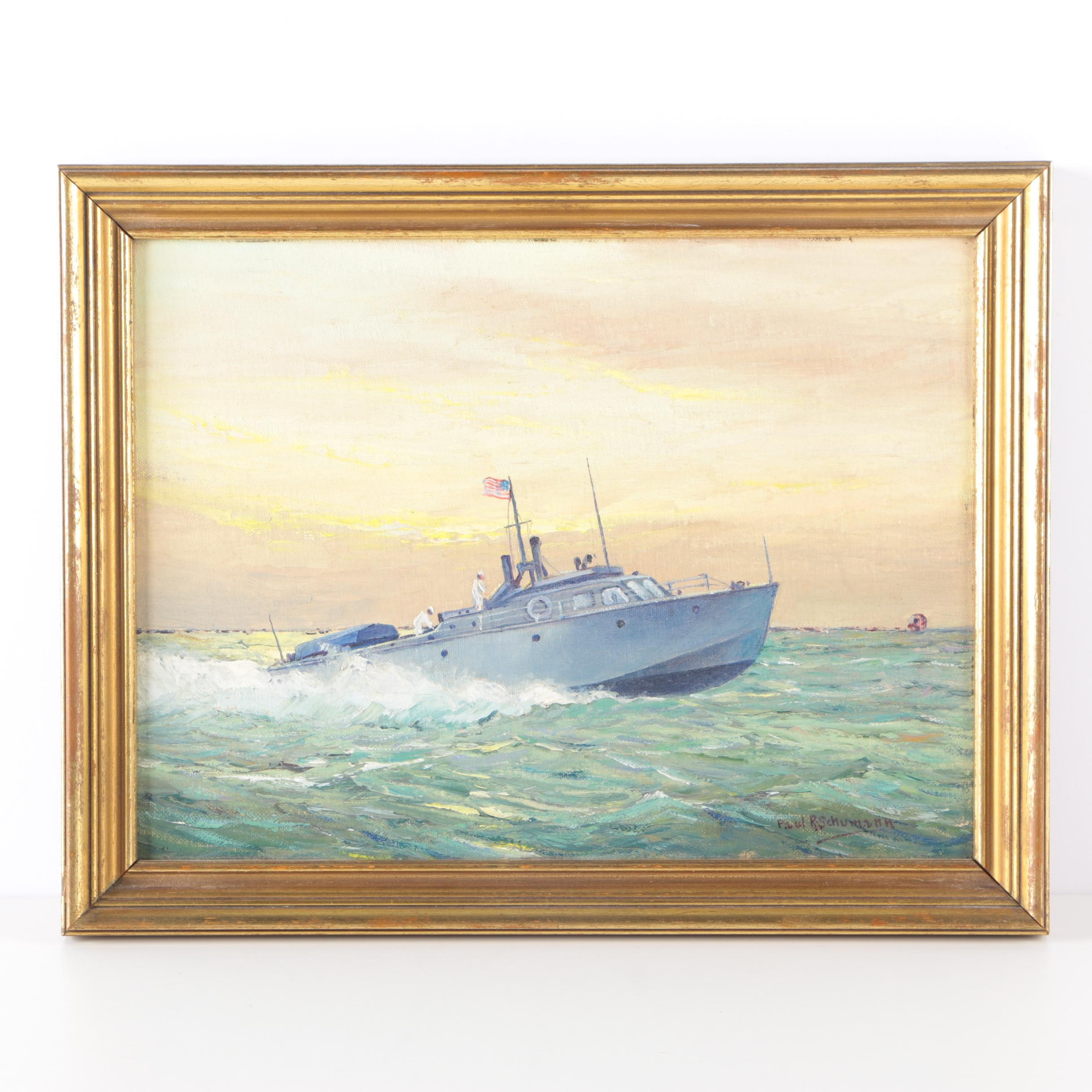 Paul R. Schumann Signed Oil on Canvas Board of US Naval Vessel
