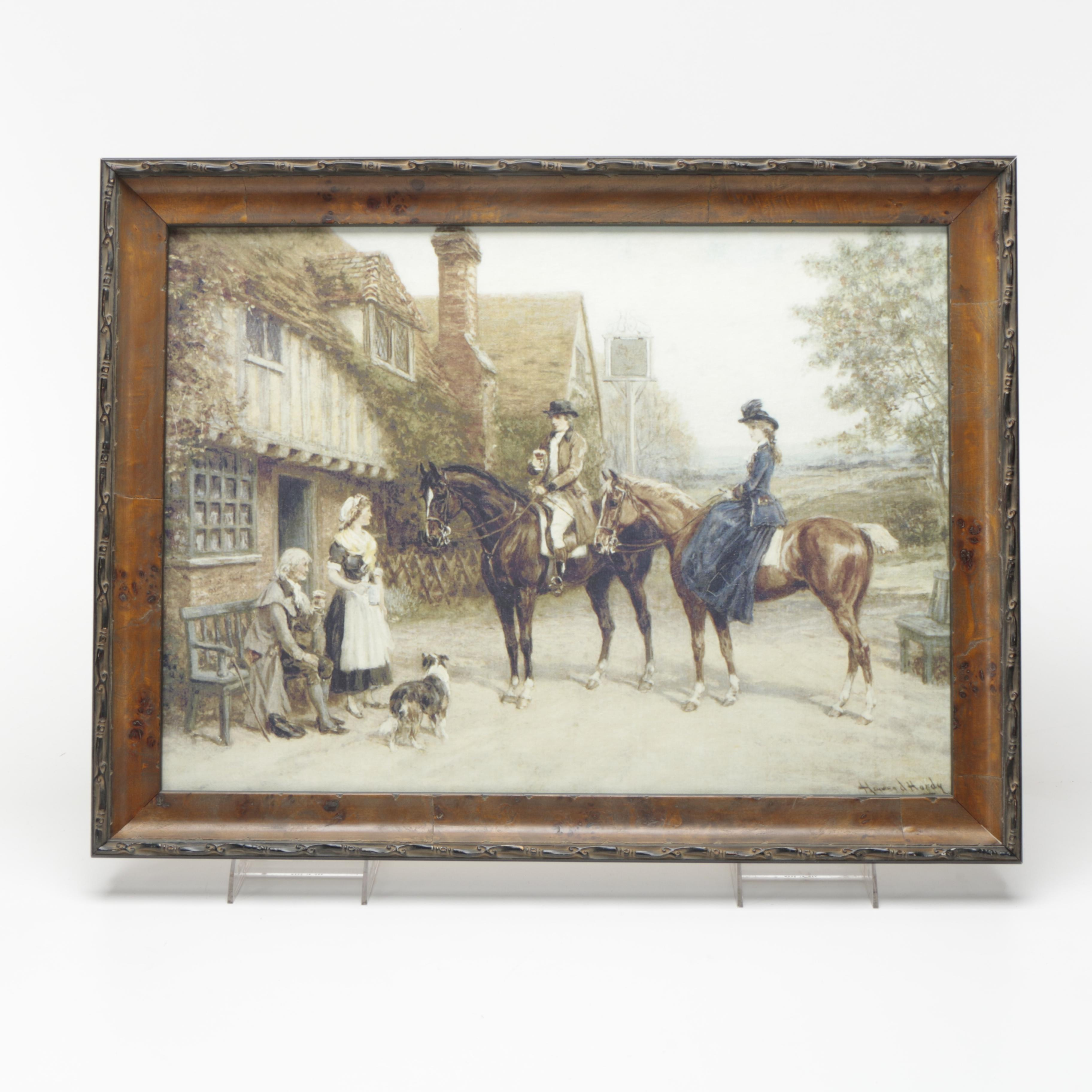 Giclee on Canvas of Two Figures on Horseback After Howard Hardy