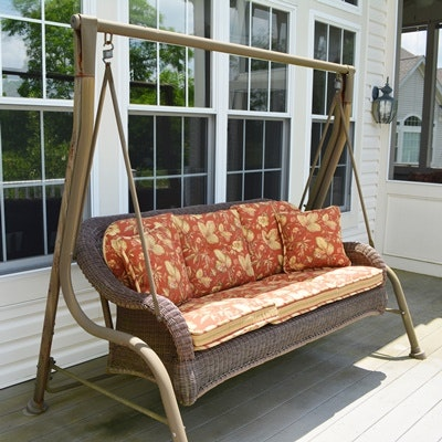 Agra Brown Wicker Patio Swing And Frame ...