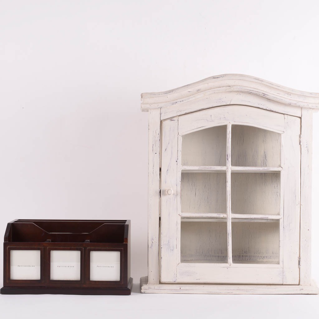Pottery Barn Bedford Photo Caddy and Weathered Wooden Curio ...