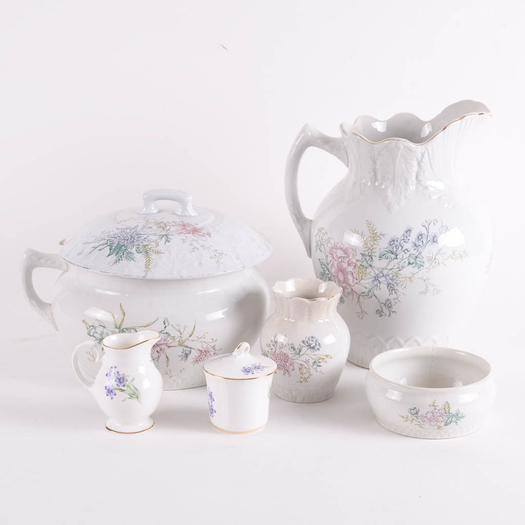 Collection of Porcelain Floral Tableware Featuring Virginia and Royal Grafton