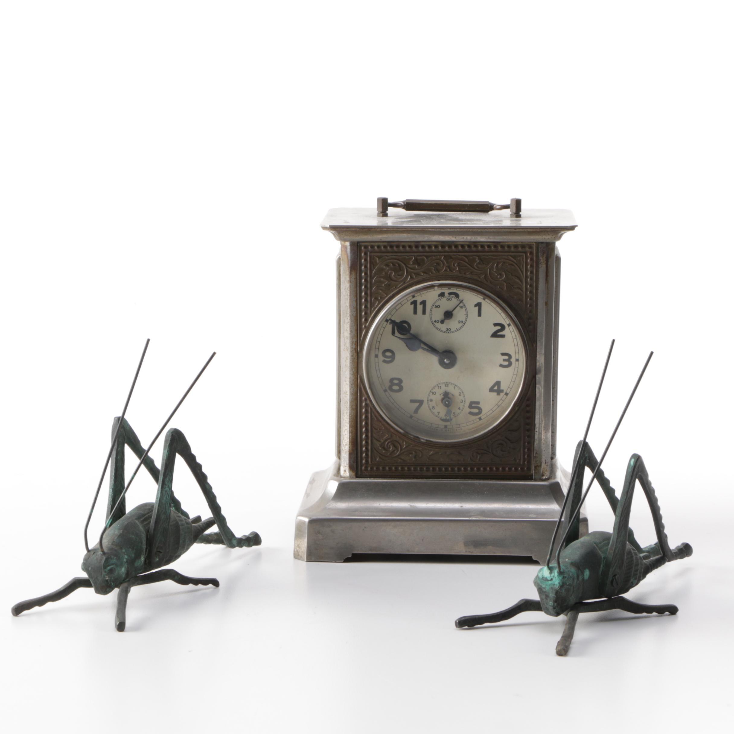 F. Mauthe Mantel Music Box Alarm Carriage Clock