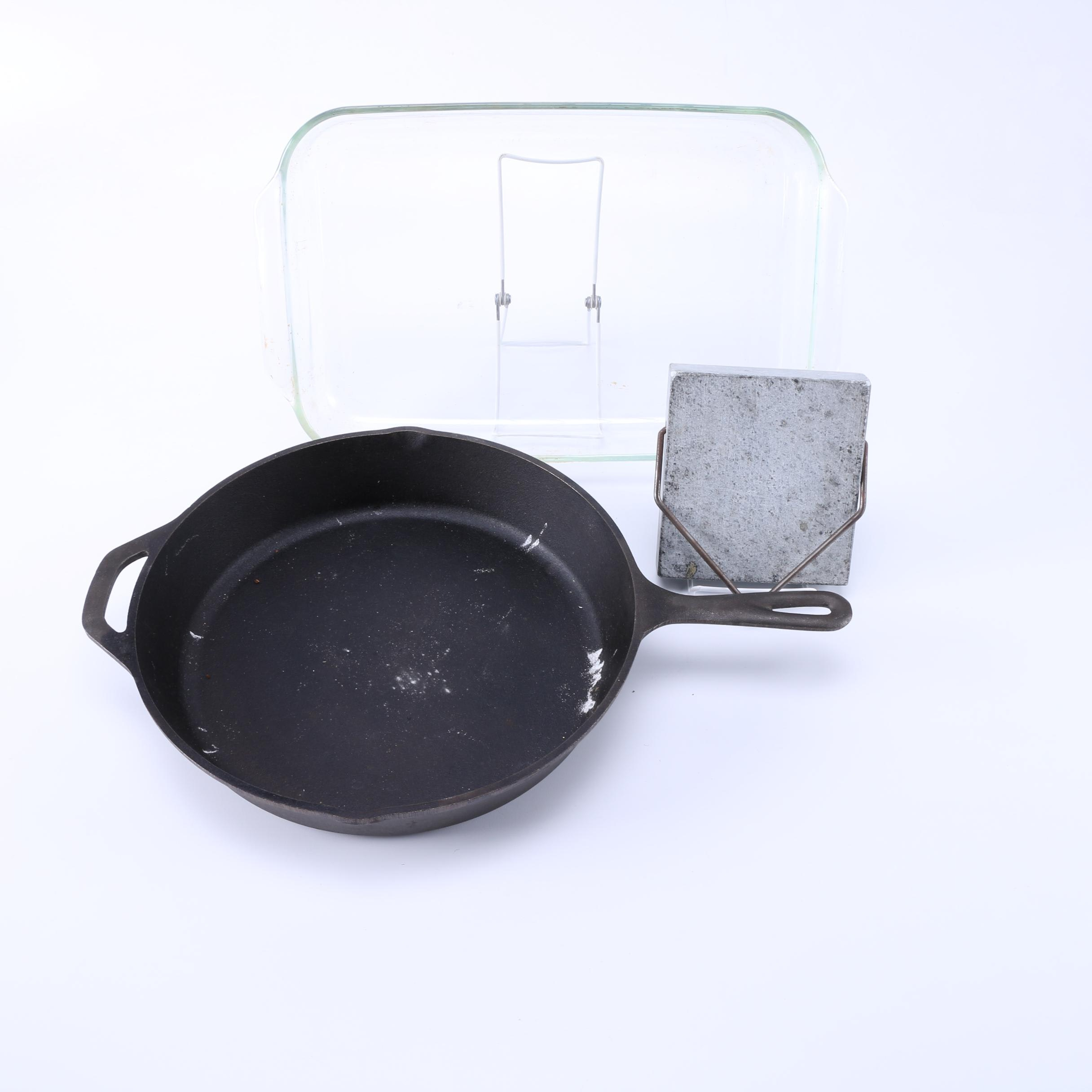 Lodge Cast Iron Skillet, Pyrex Baking Dish, and Soapstone Warmer