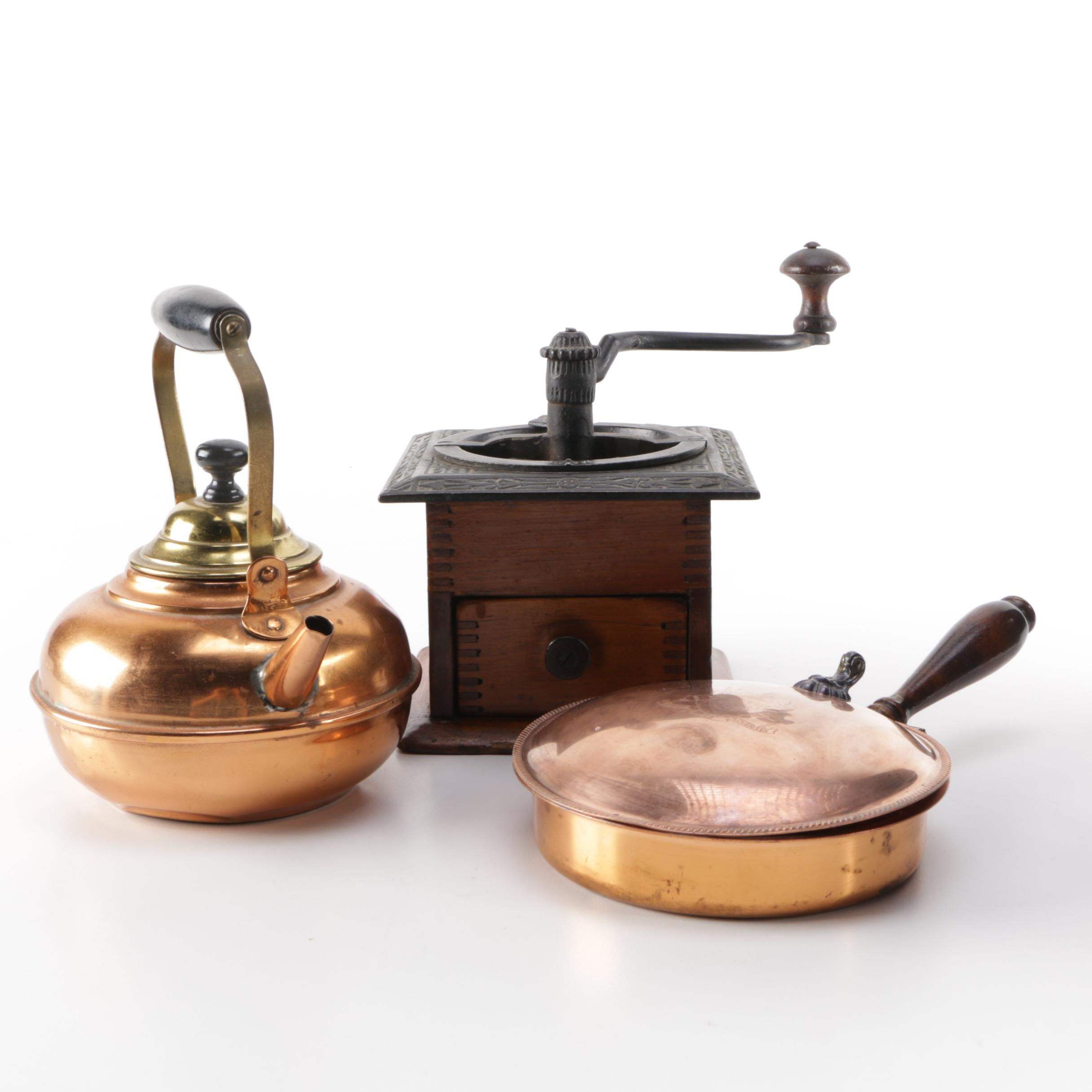 Vintage to Antique Kitchen Kettle, Bed Warmer, and Coffee Grinder