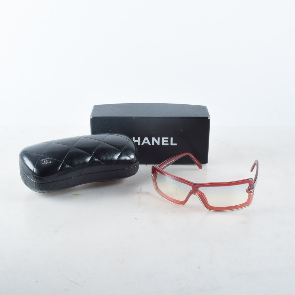 Chanel Wrapped-Lens Glasses in Red