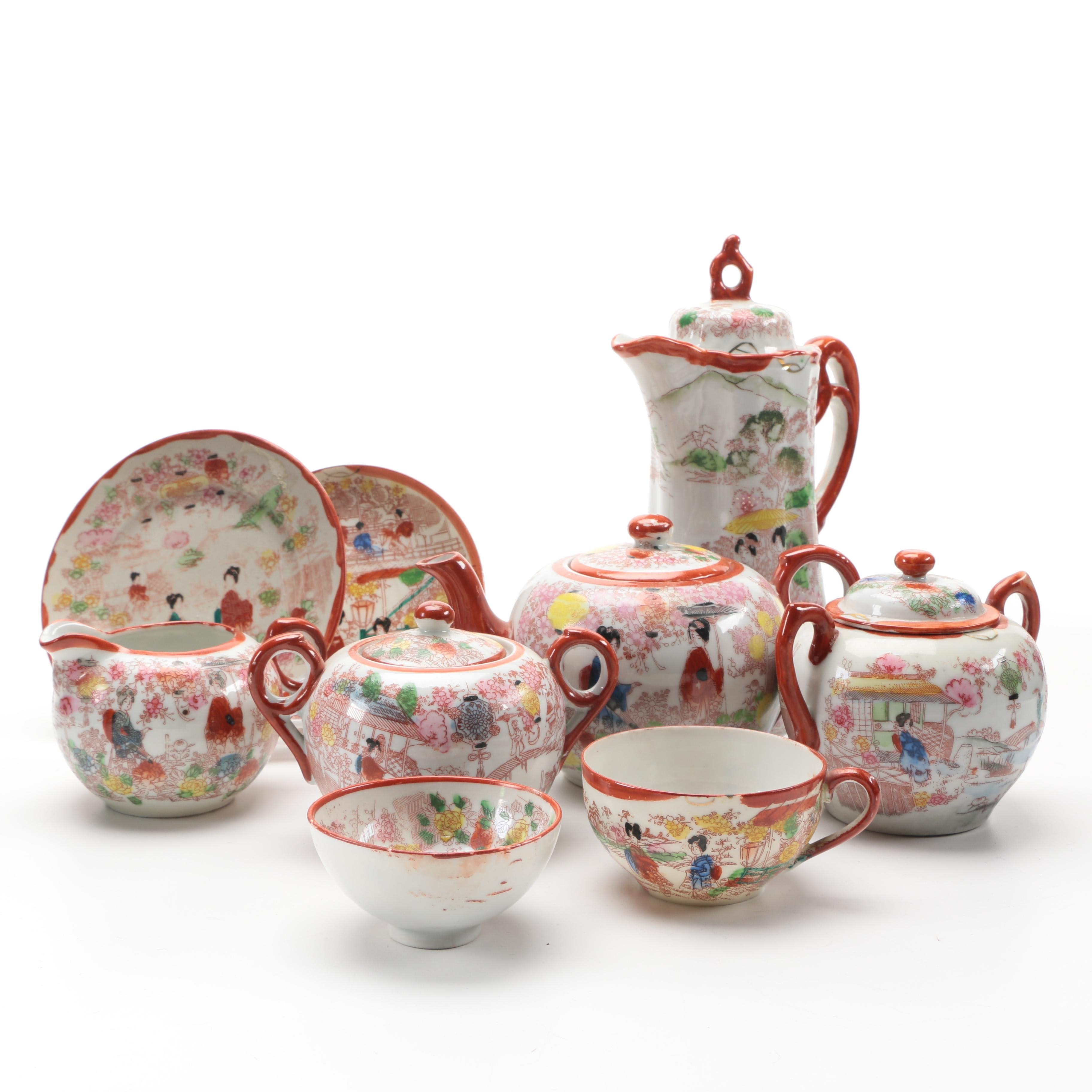 Hand Painted Red and White Porcelain Japanese Tea Set