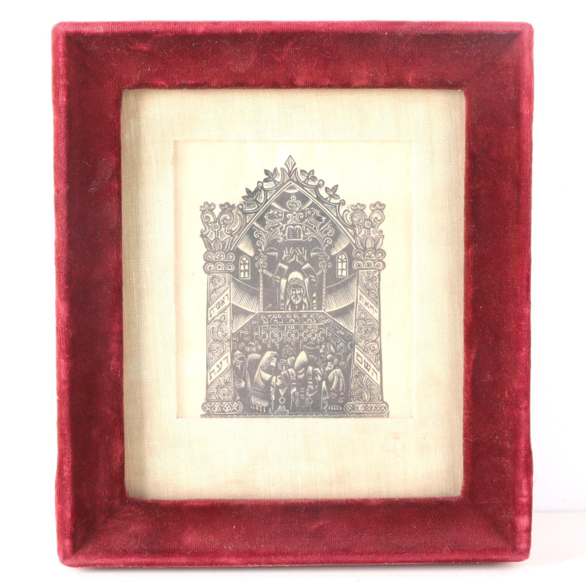 Woodblock Print of Men Worshiping in a Synagogue