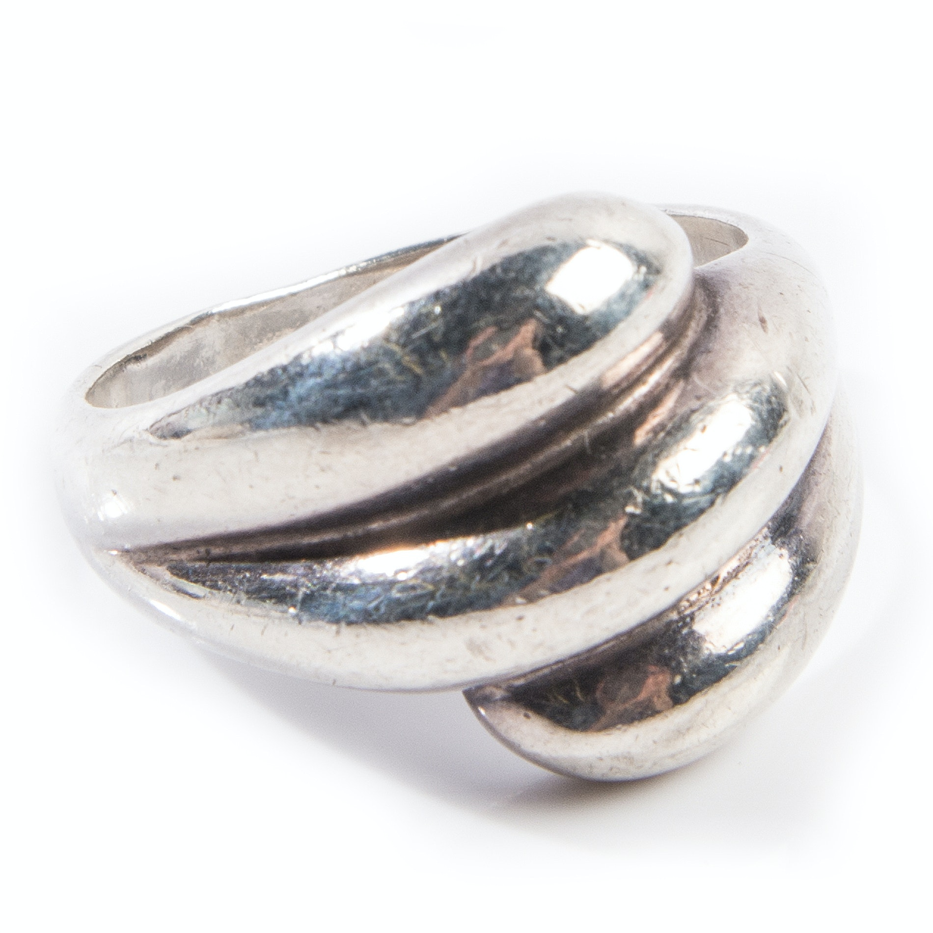 Sterling Silver Three Row Curved Ring