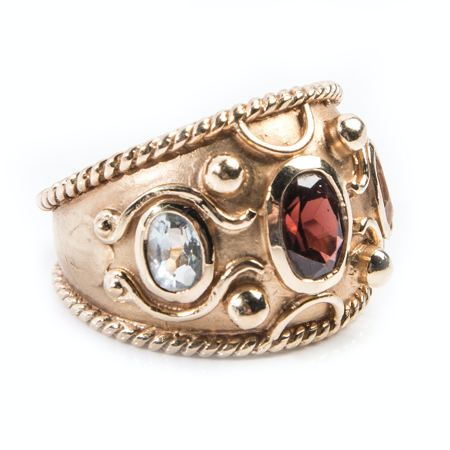 14K Yellow Gold Garnet, Aquamarine, Citrine Ring