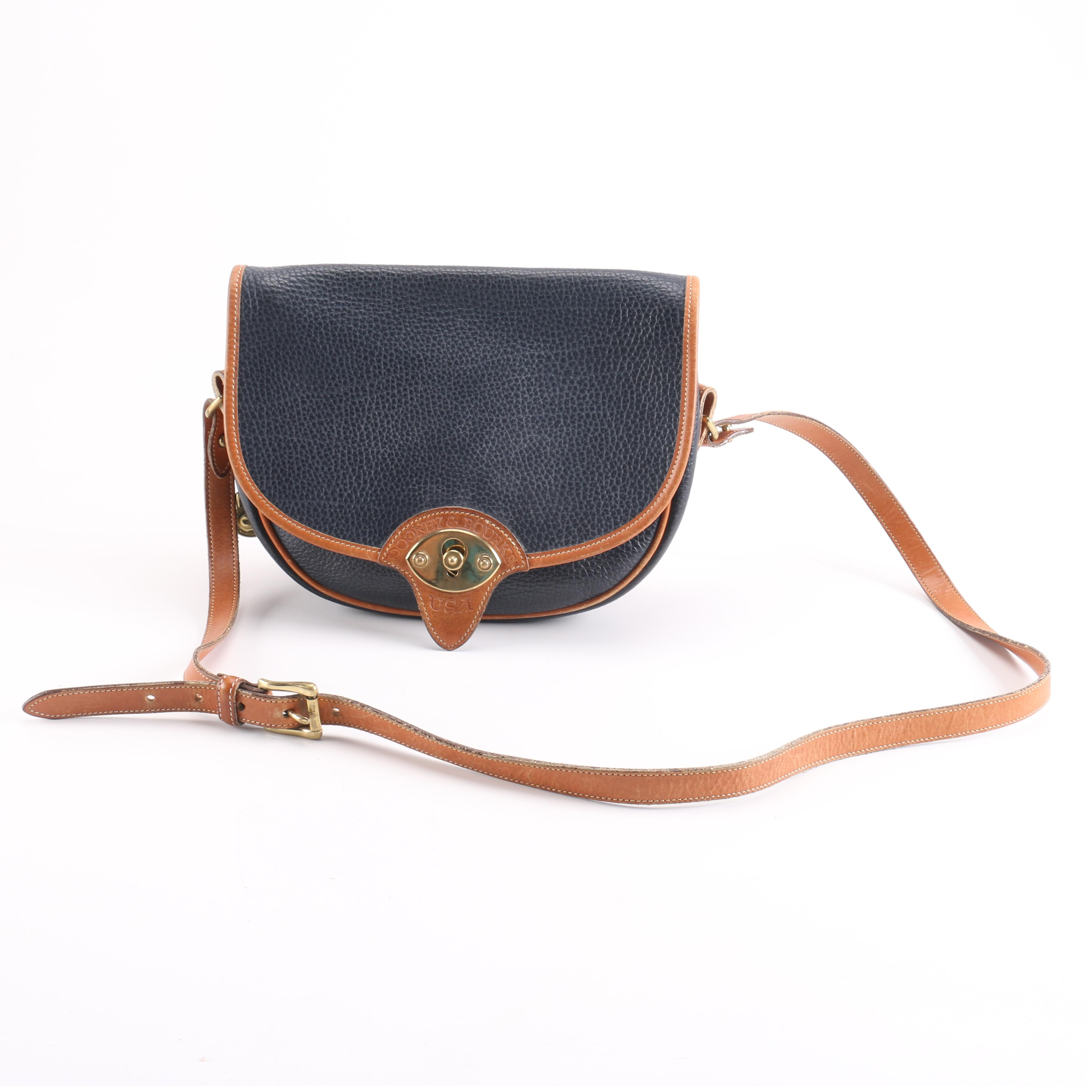 Tan and Pebbled Blue Leather Dooney & Bourke Purse