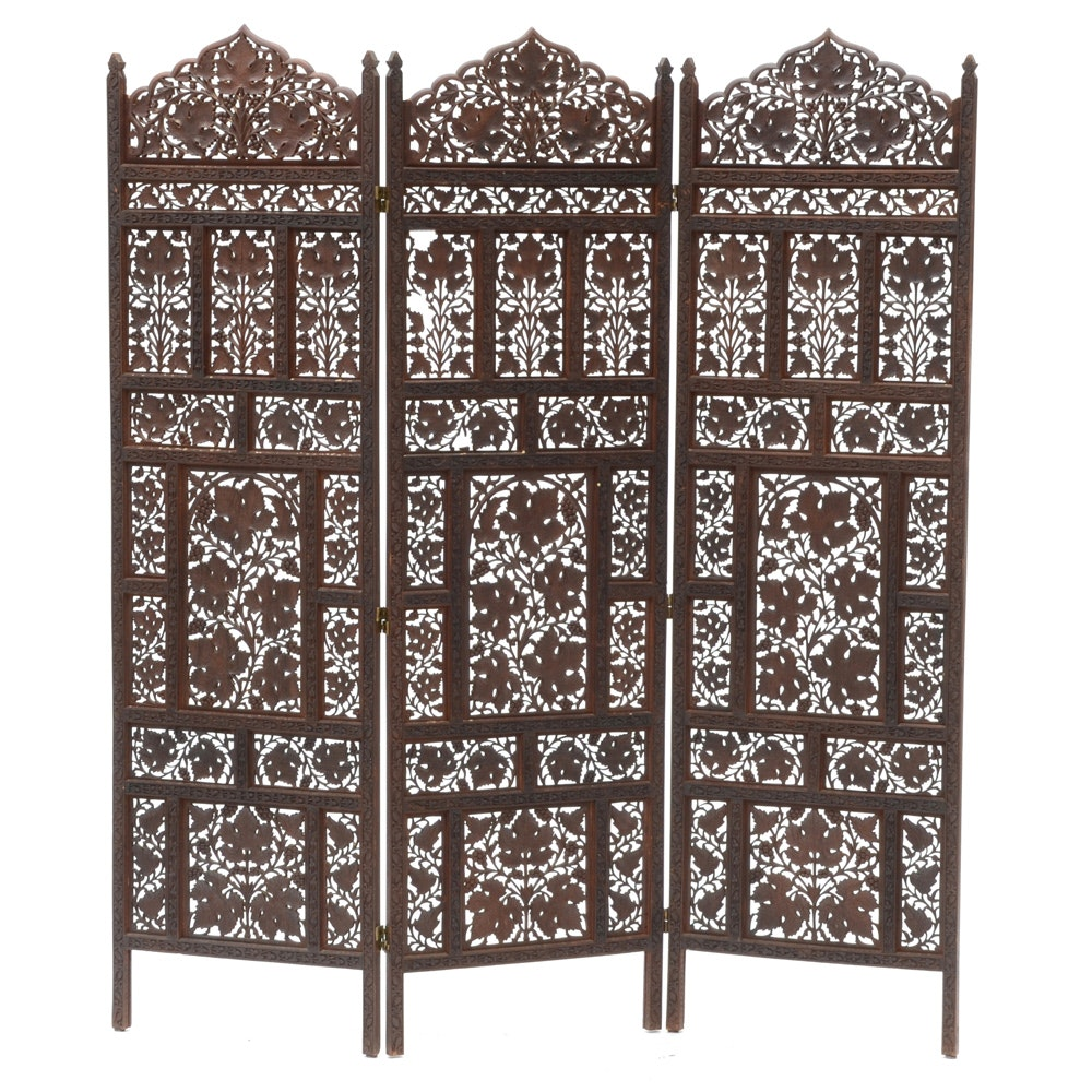 Hand-Carved Wood Screen Room Divider