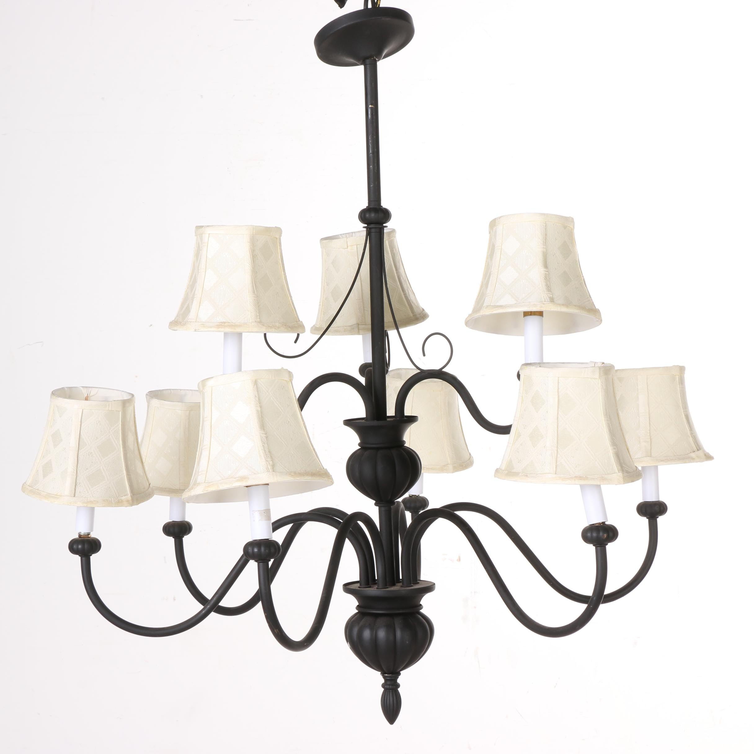 Pottery Barn Black Metal Chandelier With Shades