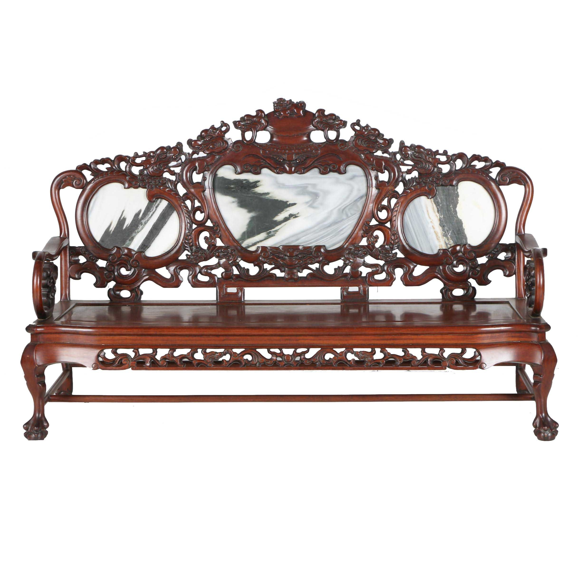 Vintage Carved Mahogany Chinese Bench With Marble Panels