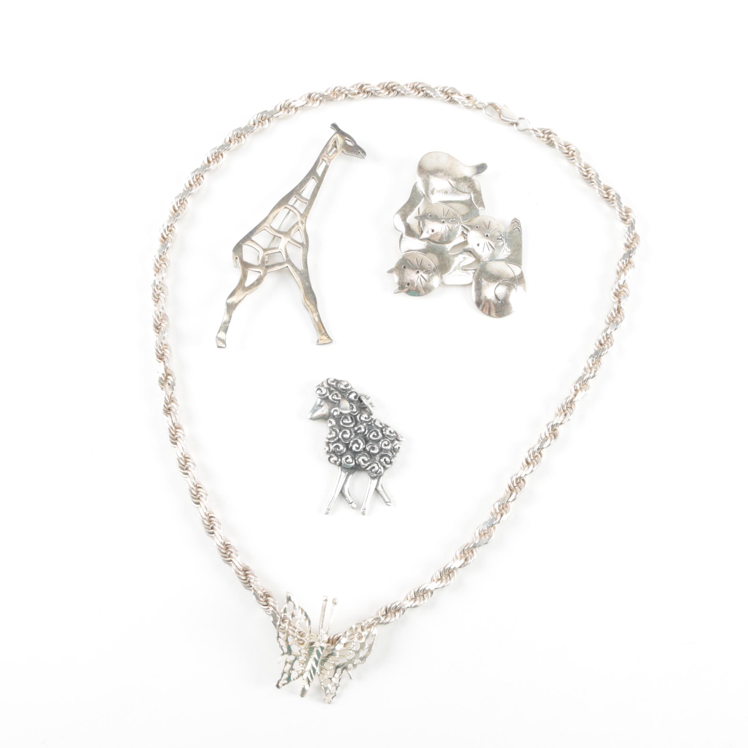 Sterling Silver Stylized Animal Jewelry