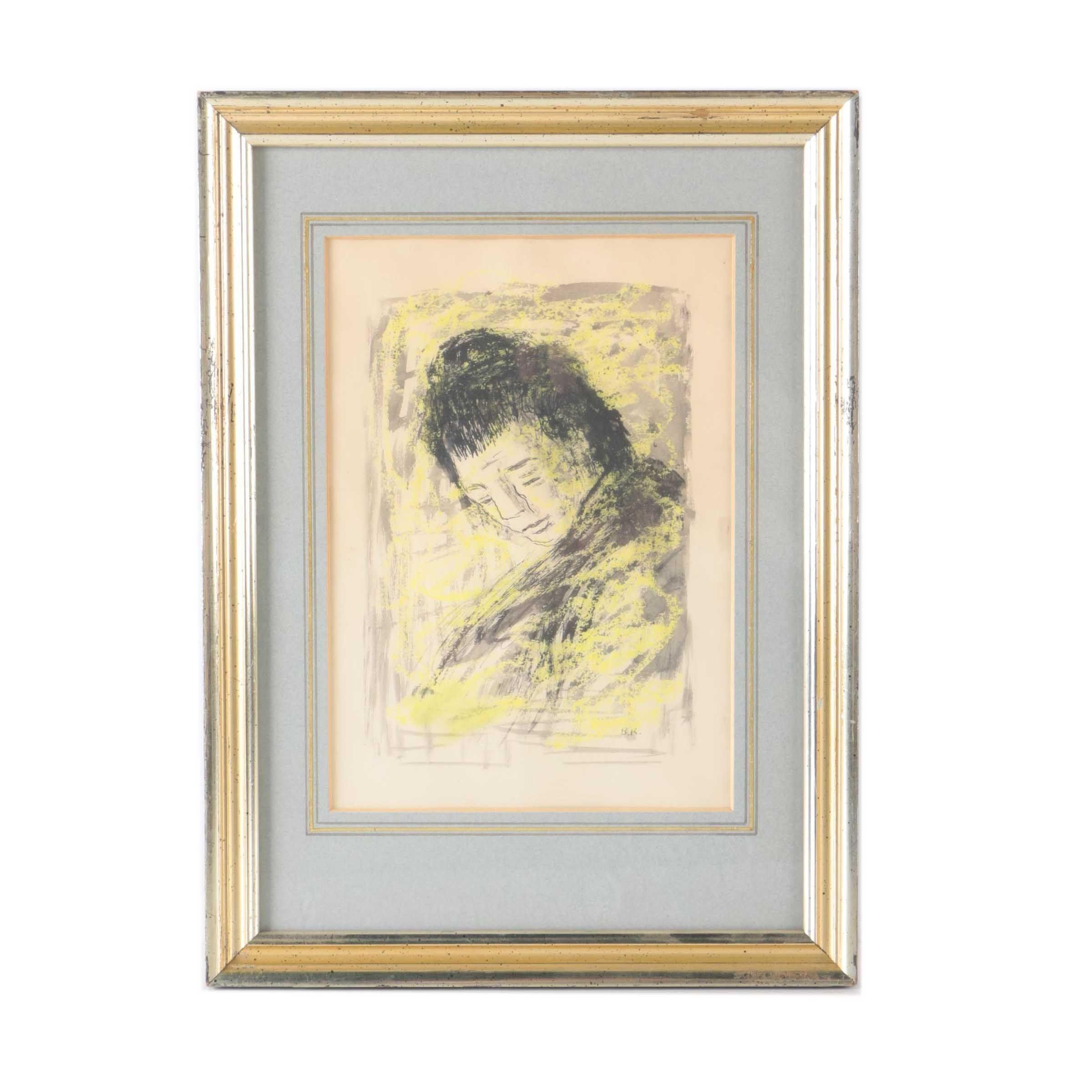 Benjamin Kopman Watercolor and Ink Portraiture Painting