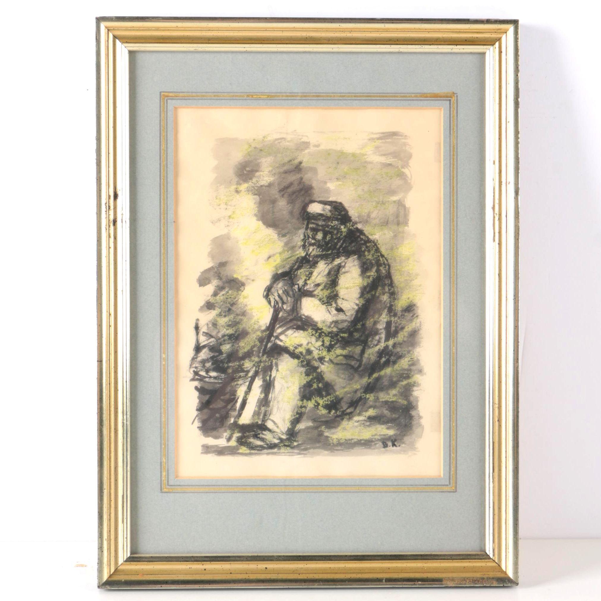 Benjamin Kopman Watercolor and Ink Portrait