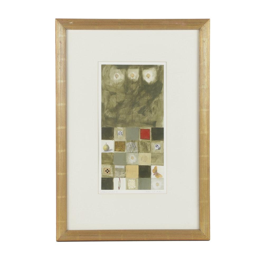 "J. Adams Serigraph Print on Paper ""Floret Fractal 84"""