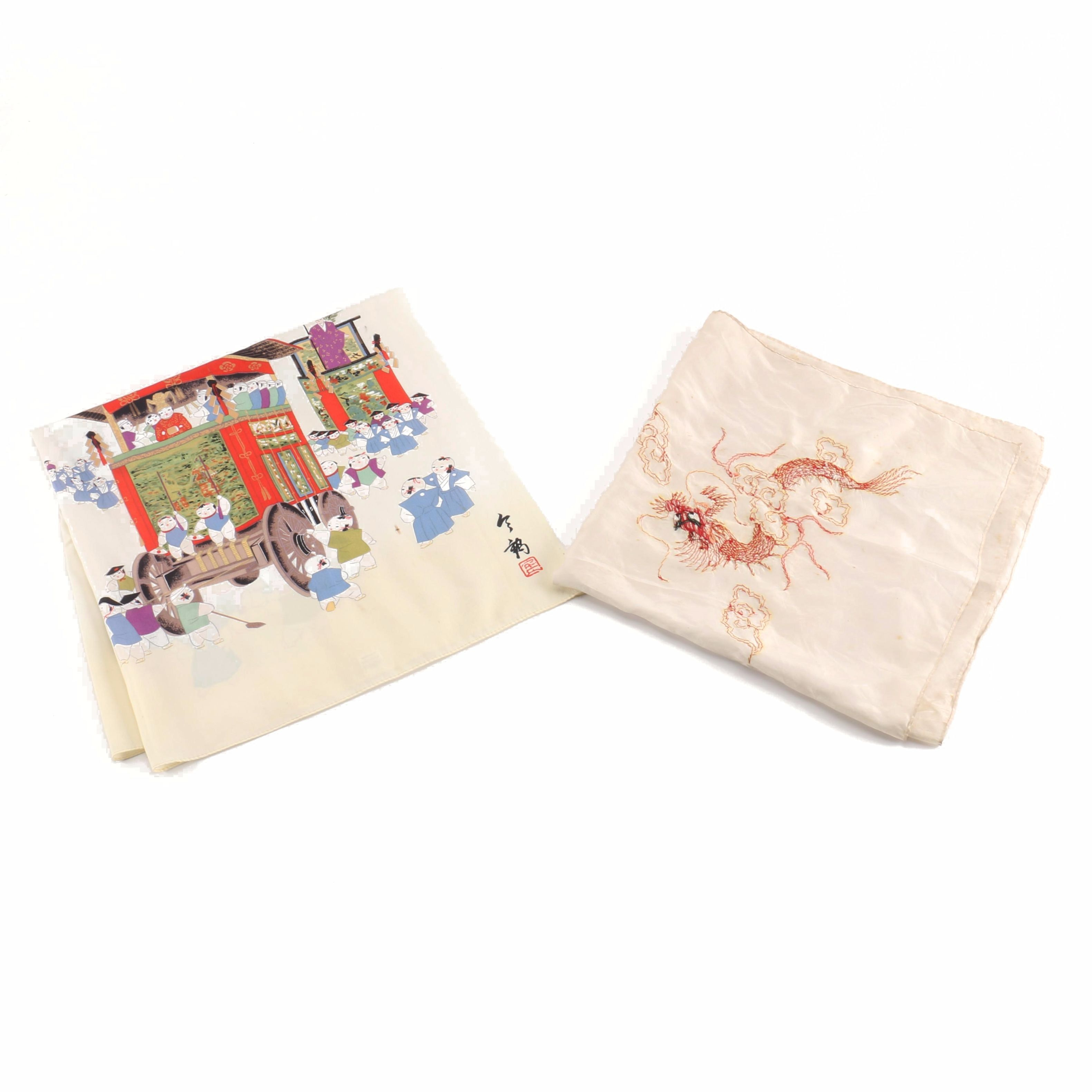 Two Silk Asian Style Scarves