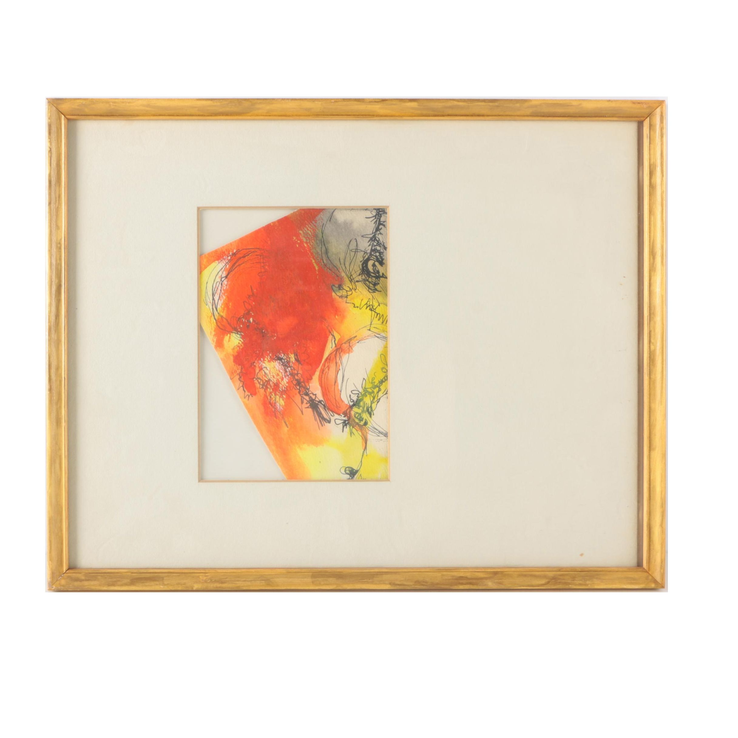 S. Farnes Watercolor Painting of Abstract Composition