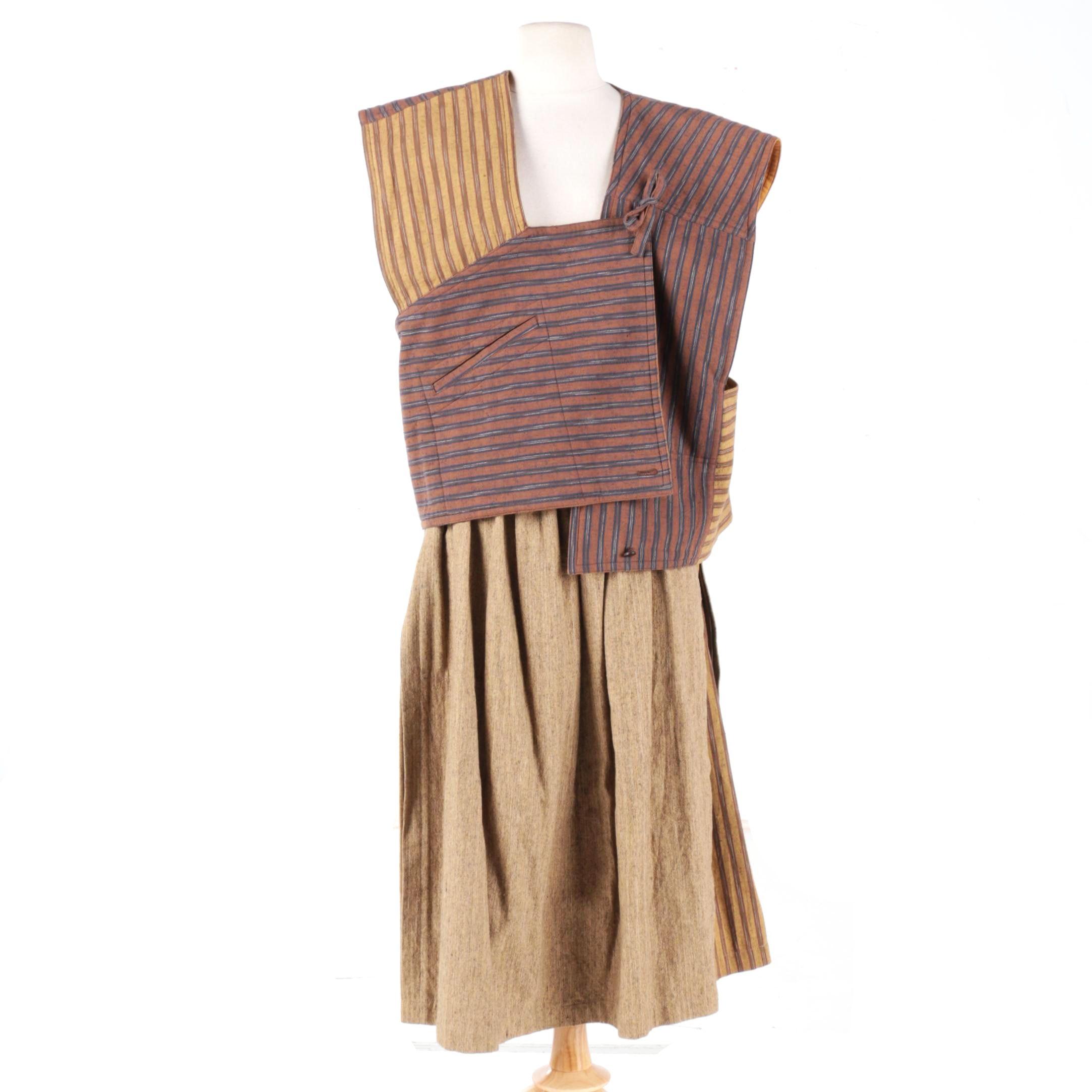 Women's Issey Miyake Plantation Skirt and Top Set