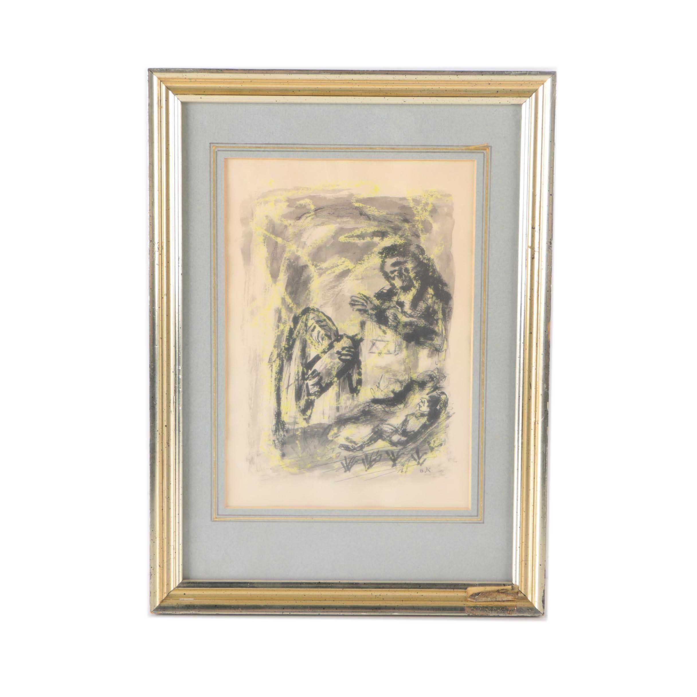Benjamin Kopman Figurative Ink and Watercolor Drawing