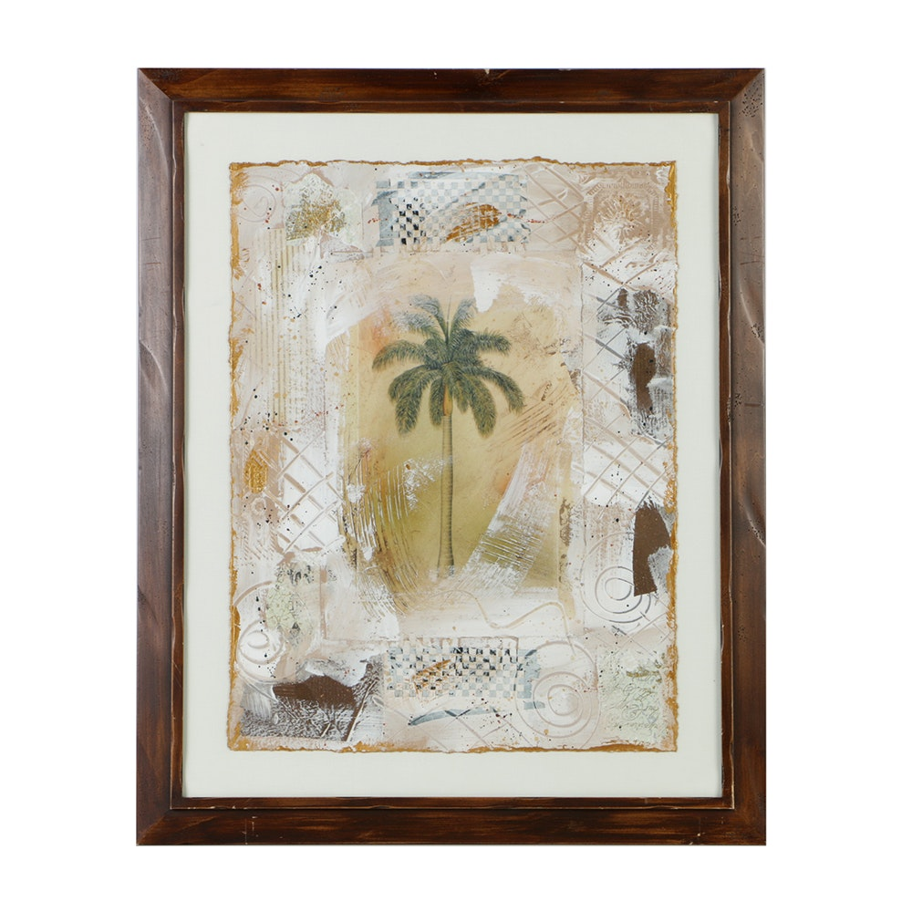 Mixed Media on Paper of a Palm Tree