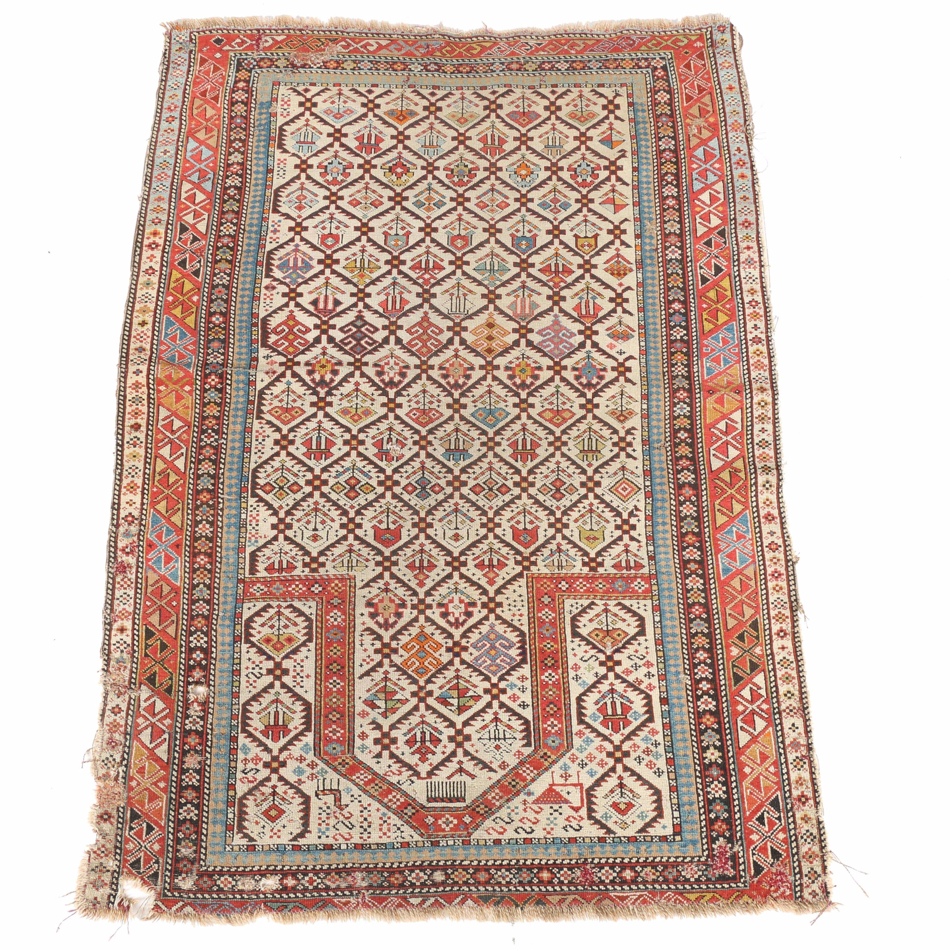Antique Hand-Knotted Shirvan Prayer Rug
