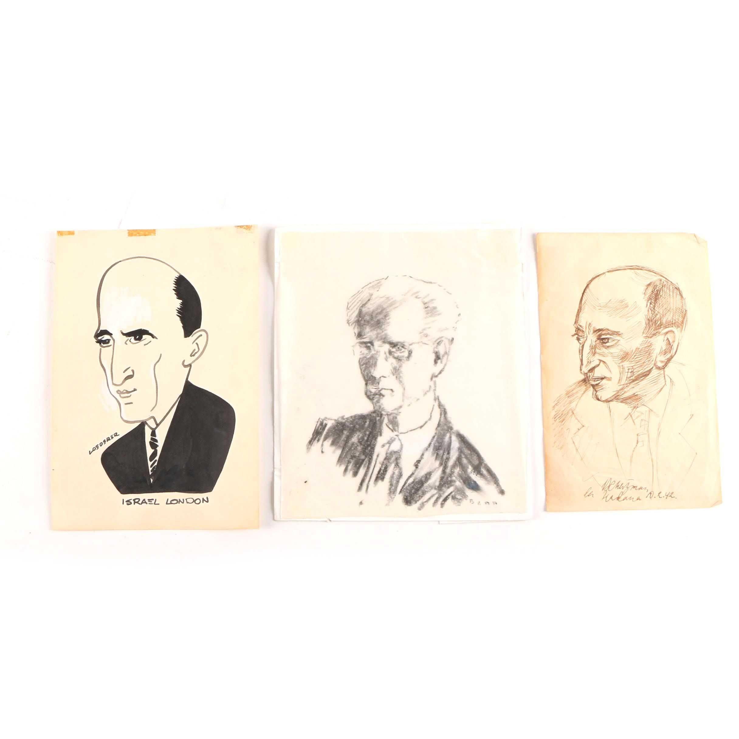 Mid-Century Portraits on Paper Including Benn and Richard Loederer
