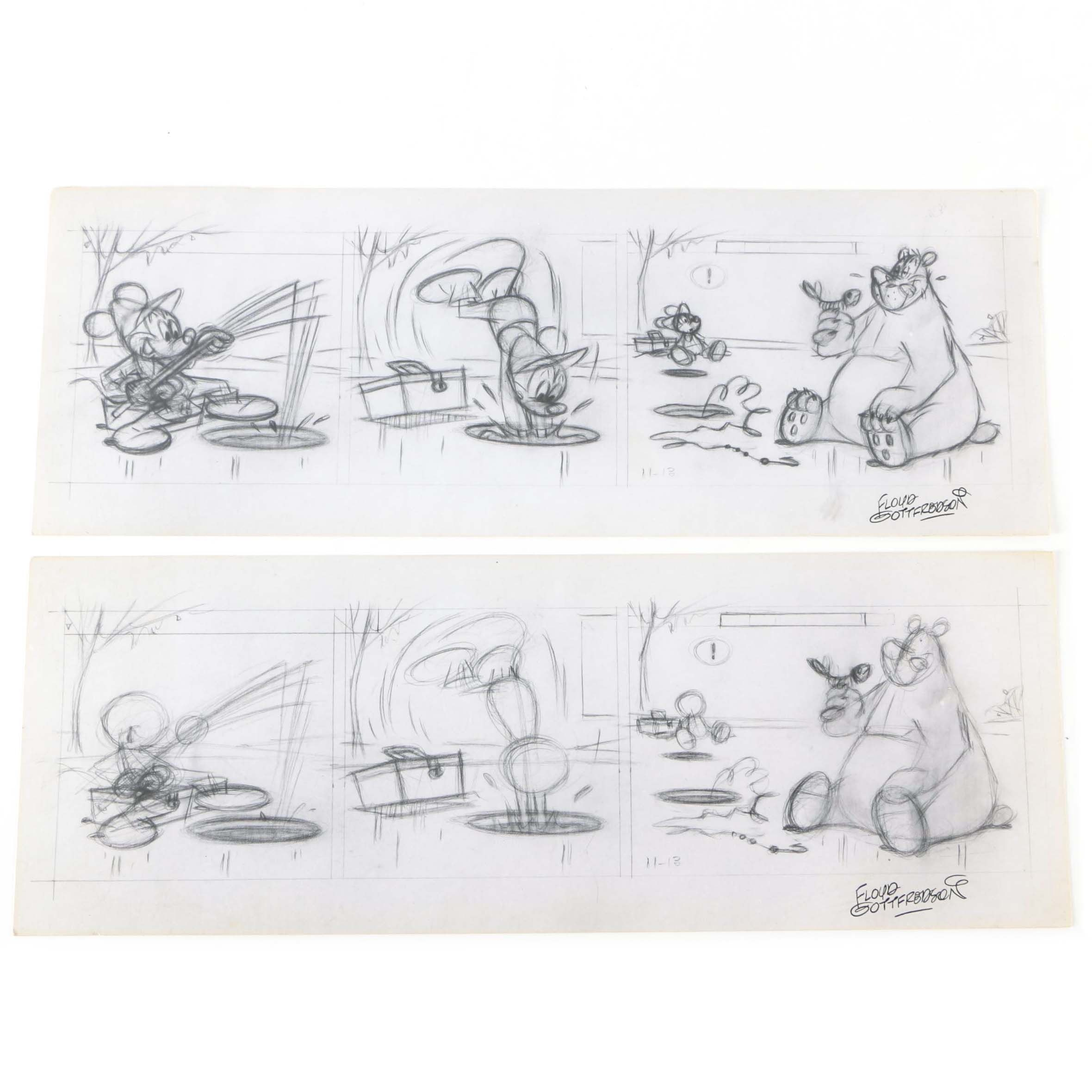 Arthur Floyd Gottfredson Mid-Century Graphite Drawings of Mickey Mouse