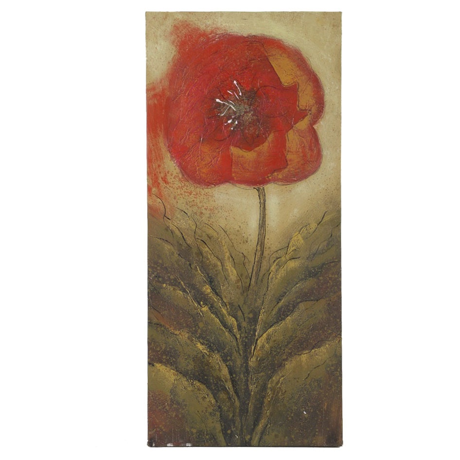 Mixed Media Painting on Canvas of a Red Poppy Flower