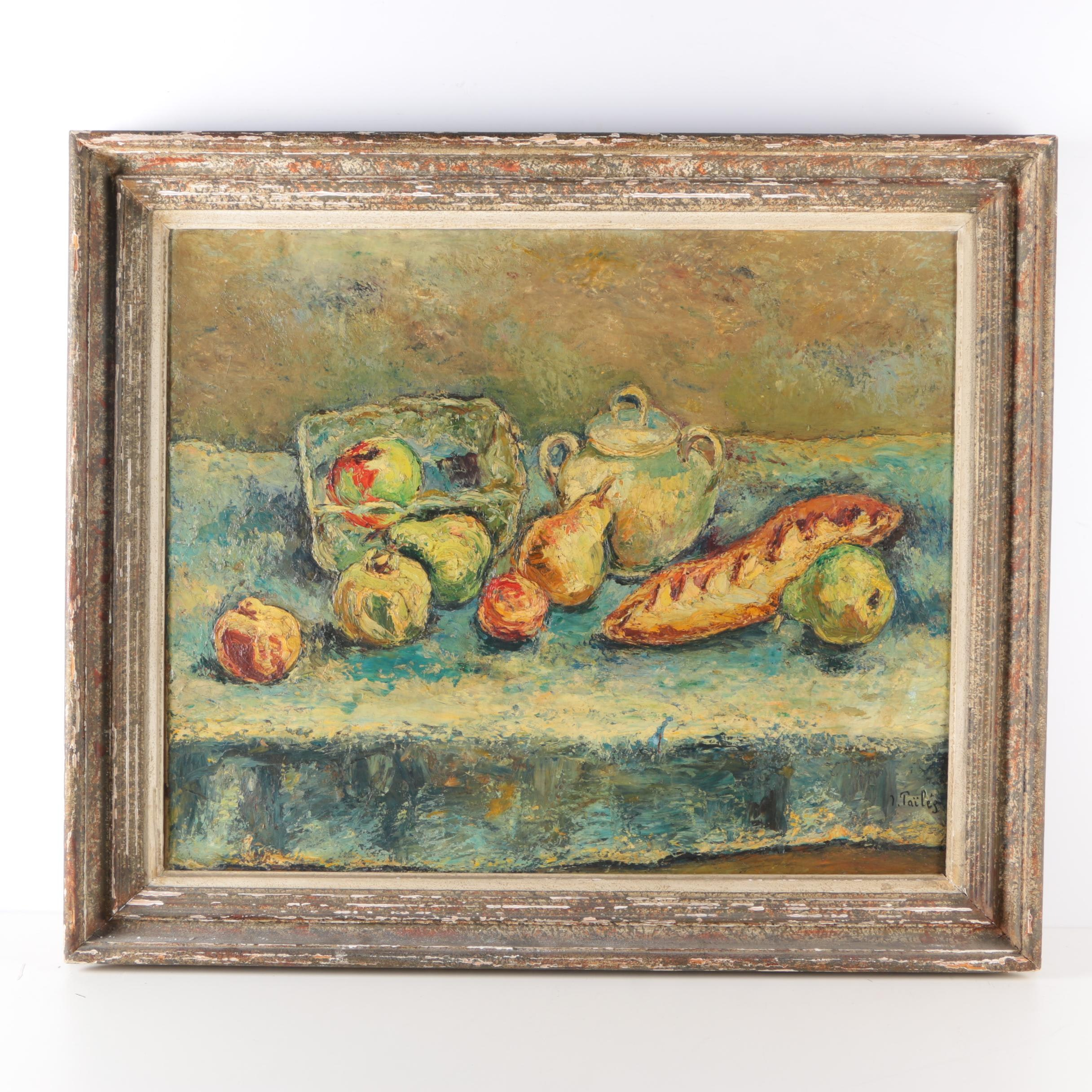 Isaac Païles Still Life Oil on Canvas of Fruit and Bread