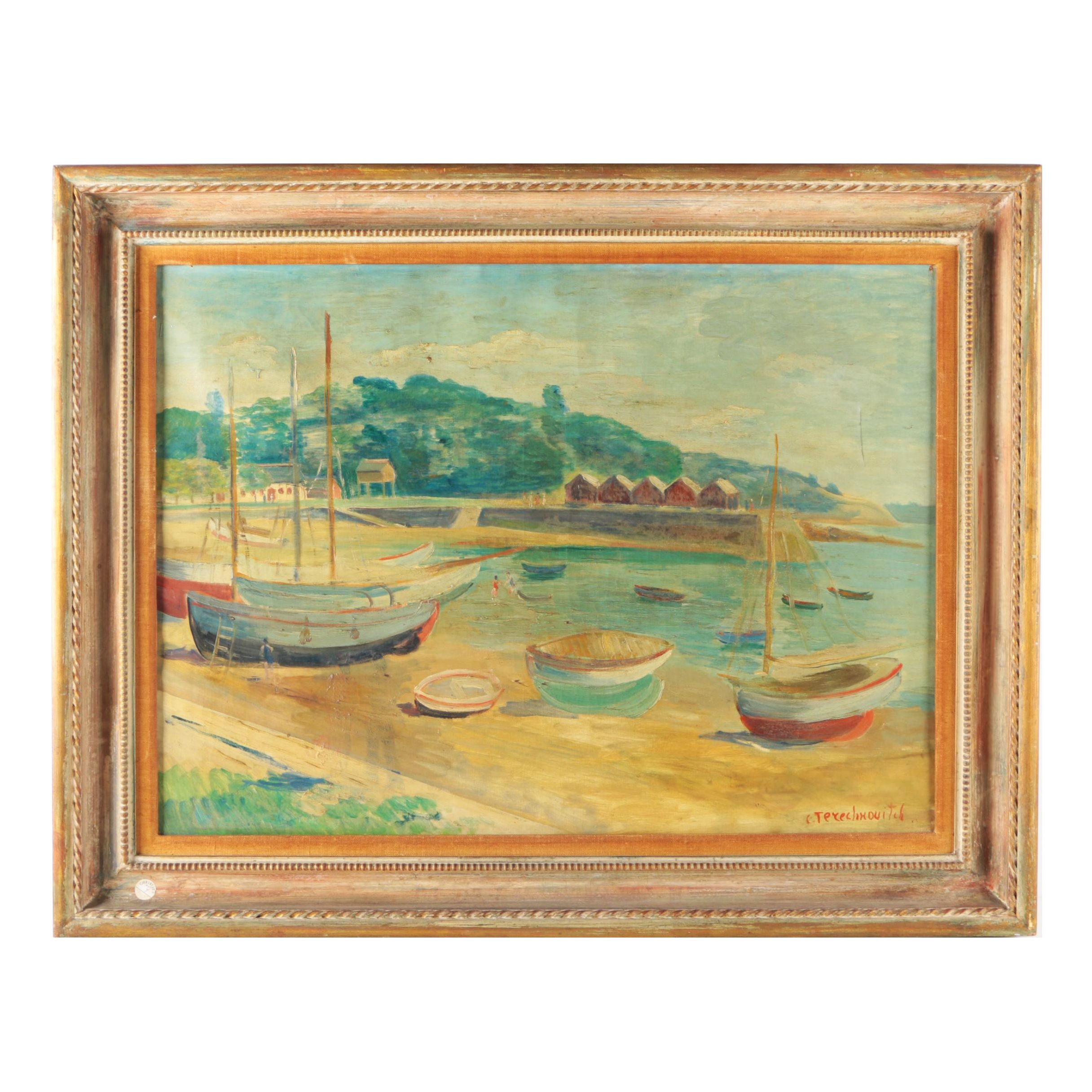 Constantin Terechkovitch Oil Painting on Canvas of Harbor Scene