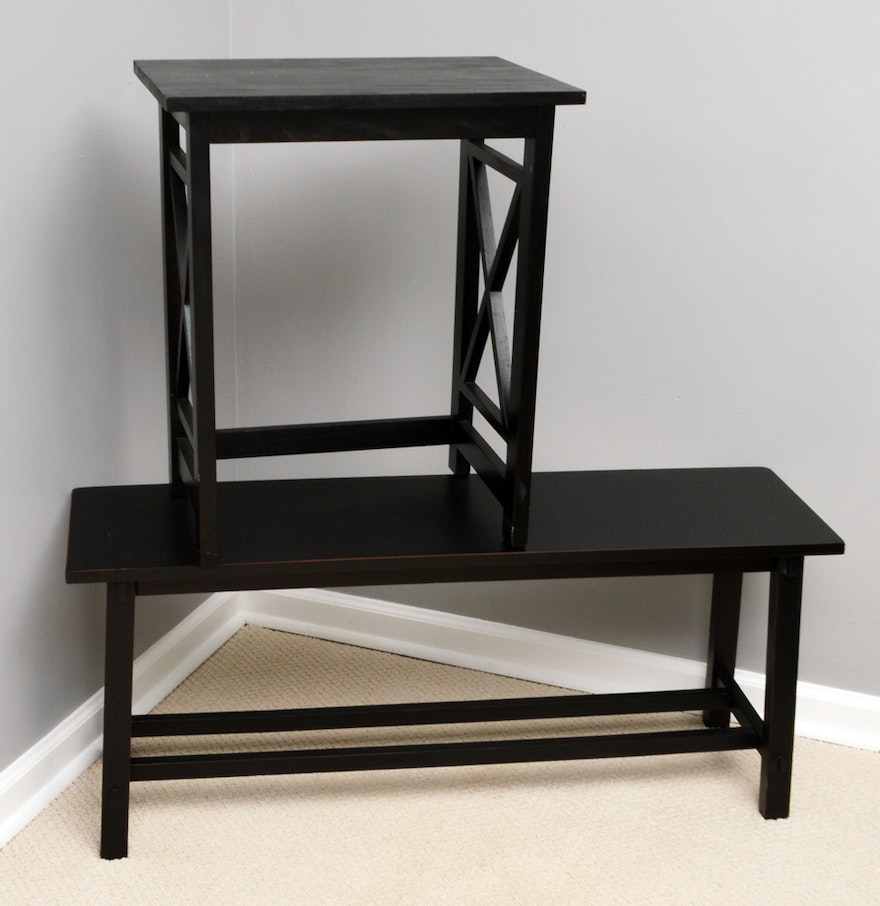 contemporary accent table and bench  ebth - contemporary accent table and bench