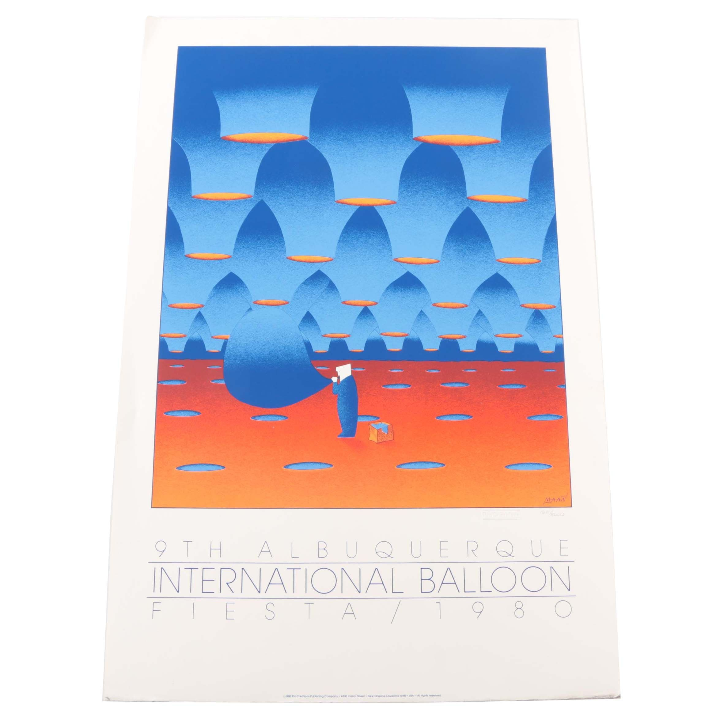 "MAAN Limited Edition 1980 Serigraph Poster ""9th Albuquerque International Balloon Fiesta"""