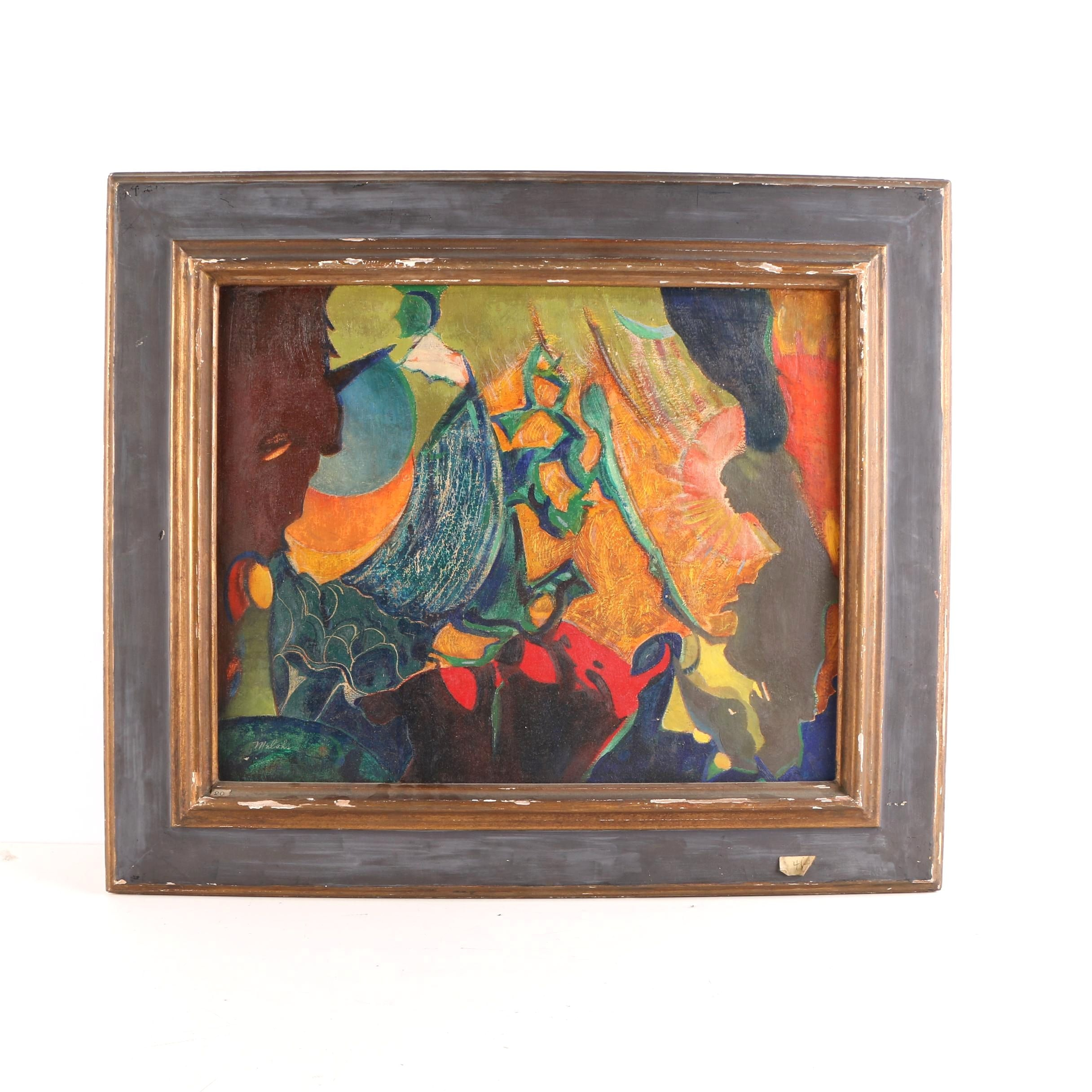 """Charles Melohs 1944 Oil With Sgraffito on Board """"Passing Worlds"""""""