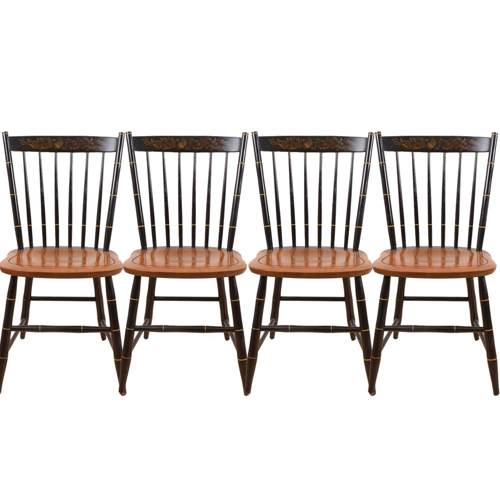 Set of Black Lacquer and Oak Dining Chairs