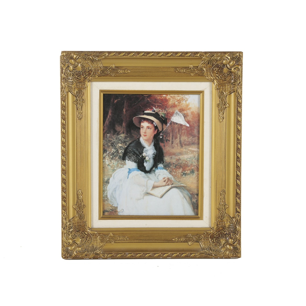 Offset Lithograph on Panel After an Original Portrait of a Young Lady